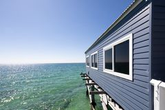 Busselton Jetty in Western Australia. Boat Sheds on Busselton Jetty in Busselton, WA. Busselton Jetty is the second longest wooden jetty in the world at 1841 stock photo