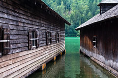 Boat sheds on the Konigssee Royalty Free Stock Image