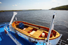 Boat on ship. On the Dnieper river in Ukraine stock photos