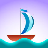 Boat. Ship blue sea vector illustration Royalty Free Stock Photography