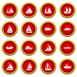 Boat and ship icon red circle set Stock Image