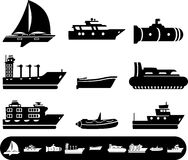 Boat and Ship icons. Black icon set of boat and ship Stock Photos