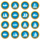 Boat and ship icons blue circle set Stock Photos