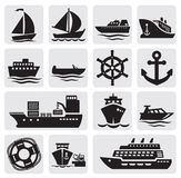Boat and ship icons set. Vector black different types of boat on gray Royalty Free Stock Images