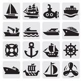 Boat and ship icons set. Vector black boat and ship icons set Royalty Free Stock Photos