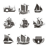 Boat and ship icons set Stock Photography