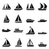 Boat and ship icons set Stock Photo