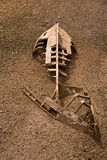 Boat ship skeleton half buried in sand stock image
