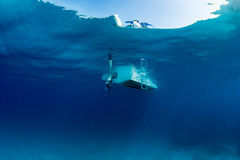 Boat ship from underwater blue ocean. Boat ship from underwater turquoise paradise waters Stock Photography