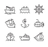 Boat and ship. Vector black flat boat and ship icons on white Stock Images