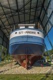 Boat in a shipyard Royalty Free Stock Photos