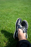 Boat shoes on grass Royalty Free Stock Image