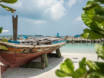 Boat on the shore of the city of Male. Maldives. Vacation. White sand. Royalty Free Stock Photography