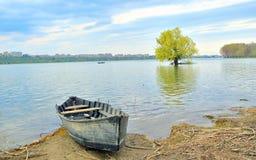 Boat on shore of danube Stock Image
