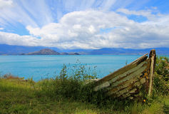 Boat on shore of General Carrera Lake, Patagonia, Chile. Boat on shore of General Carrera Lake with islands, Patagonia, Chile Stock Photography