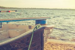 Boat on the shore. Old boat on the shore Royalty Free Stock Images