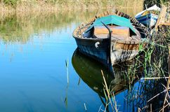 Boat on the shore river Royalty Free Stock Images