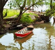 Boat on the shore of the river parana stock photography