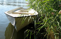 Boat for a short trip. In the summer sun Royalty Free Stock Image