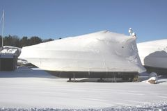 Boat with Shrink Wrap. Boat with a coat of shrink-wrap , protection from winter elements in North America Stock Photo