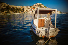 Boat about Sibenik is historic town in Croatia Royalty Free Stock Photo