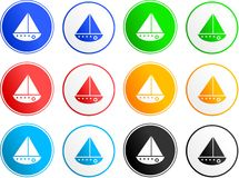 Boat sign icons Royalty Free Stock Photography