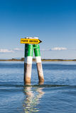 Boat sign in the lagoon of Grado. Friuli Venezia Giulia, Italy Stock Photo