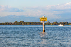 Boat sign in the lagoon of Grado. Friuli Venezia Giulia, Italy Stock Photos