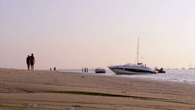 Boat silhoette at sunset in, Ria Formosa. Algarve Stock Image