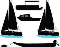 Boat silhouette vector Royalty Free Stock Photos
