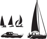 Boat silhouettes Stock Images