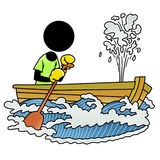 Boat sinking. Silhouette-man unlucky day - boat sinking Royalty Free Stock Photography