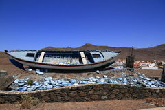 A boat skeleton in Fuerteventura, Canary Islands Royalty Free Stock Photography