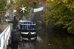 Boat in skipton. Spring Branch Canal in Skipton, UK Royalty Free Stock Photography