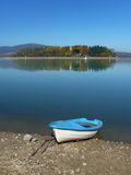 Boat and Slanica Island, Slovakia Stock Images
