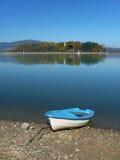 Boat and Slanica Island, Slovakia stock images