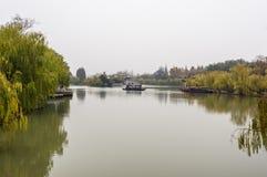 A boat in Slender West Lake, Yangzhou. A boat in Slender West Lake,   Yangzhou of China Stock Photos