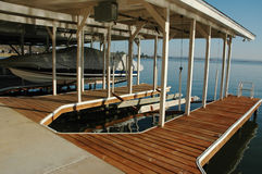 Boat Slip. A boat slip is empty were a boat should be. Extra slip, slip for rent Royalty Free Stock Photos