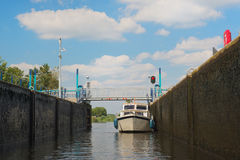 Boat in sluice Royalty Free Stock Photo