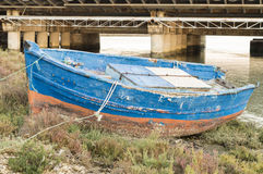 Boat. Small fishing boat on the river bank Stock Photo