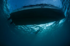 Boat and Snorkeler From Underwater Perspective Stock Images