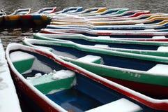Boat in snow stock photo