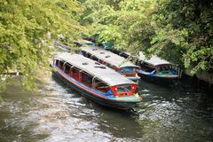 Boat speeding on San Saep canal in Bangkok Stock Images