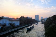 Boat speeding on San Saep canal in Bangkok Stock Photos