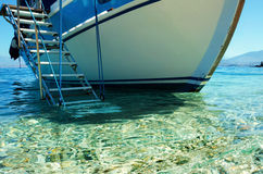 Boat stairs. Stairs to board yacht from water Stock Images