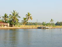 A Boat Stand in Backwater Canal, Kerala, India Royalty Free Stock Image
