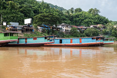 Boat Stand on Mekong River Stock Photos