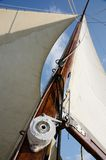 Boat standing and running rigging - mainsail,backstay,ropes Stock Image