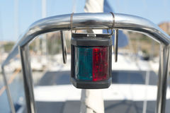 Boat starboard green and port red sides lights Stock Photos