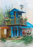 Boat station. Blue guard house on piles. House with balcony and flowers. Summer landscape. Pastel Painting Royalty Free Stock Photo